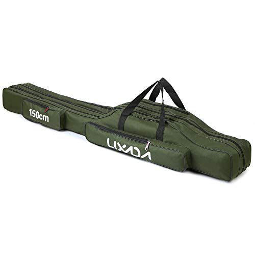 Lixada 3 Schicht Portable Folding Angelrute Tasche Angelrute Werkzeuge Aufbewahrungstasche Angelausrüstung Angelgerät Tasche,Rutentasche Rod Case für Angelruten,90/120/150 cm(optional)