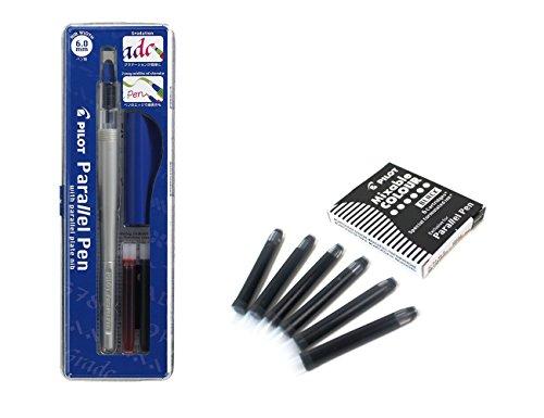 Set 1Schönschreibfüller Pilot Parallel Pen plumin 6.0mm Akku + Box mit 6Ersatzminen schwarz PILOT Parallel Pen