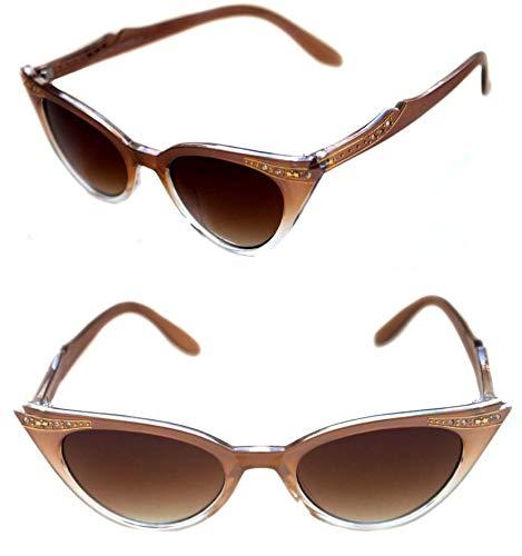 Lolablossom Cat Eye zonnebril Rockabilly strass jaren 50 smalle montuur, retro vintage