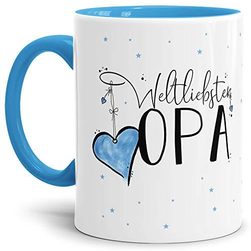 Tasse mit Spruch für den Weltbesten Opa - Kaffeetasse/Familie/Geschenk-Idee/Mug/Cup/Innen & Henkel Hellblau