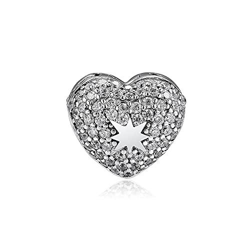 LILANG Pulsera de joyería Pandora 925, Ajuste Natural para Cuentas de Estrella en mi corazón con Encanto de Plata esterlina Transparente para Mujer, Regalos de Bricolaje