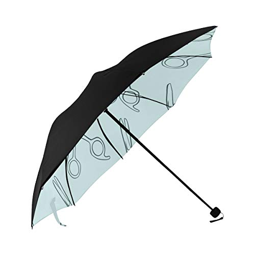 Hairdressing Scissors Hand Drawn Compact Travel Umbrella Sun Parasol Anti Uv Foldable Umbrellas(underside Printing) As Best Present For Women Sun Uv Protection