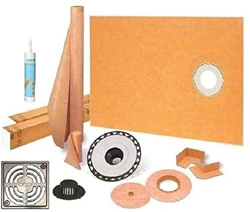 """Schluter Kerdi Shower Kit 38"""" x 60"""" Offset Shower Tray (KST965/1525S) with 2"""" ABS Bonding Flange, Strainer, Joint Sealant and 4"""" Brushed Nickel Grate"""