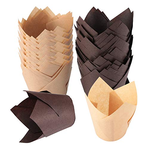 TRUSBER Baking Cups, 200 pieces Tulip Cupcake Liners Baking Cup Holders and Muffin Baking Cups for Wedding, Birthday, Christmas, Baby Shower Parties, Brown and Nature color