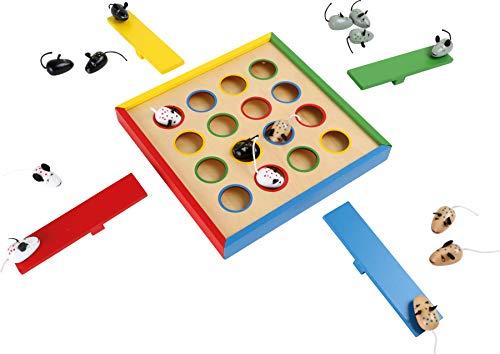 Small Foot 2019845 foot 7959 Geschicklichkeitsspiel Hüpfmäuse aus Holz, Gesellschaftsspiel für 1 bis 4 Spieler, ab 3 Jahren