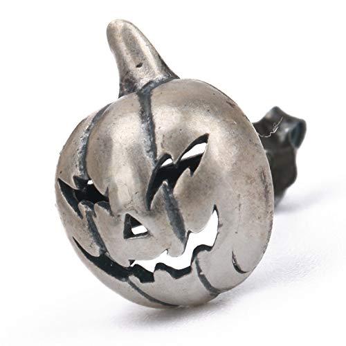 [silver KYASYA]バンプキンピアス シルバー925 ジャックオランタン ハロウィン かぼちゃ 野菜 スタッドピアス 男性 silver 片耳用 金属アレルギー対応 18G 刻印