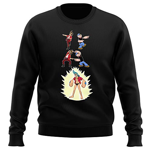 Pull Noir One Piece - Popeye parodique Franky, Ace Ventura et Popeye : Fusion YAHAAAAA !!! (Super Splendide :) (Parodie One Piece - Popeye)