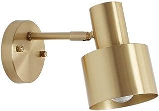 DLGGO Nordic Vintage Industrial Dormitorio Mesita de noche Aplique de pared Latón cepillado Acabado dorado Proyector ajustable Cabeza de espejo Luz de pared Lámpara de granero de metal simple Lámpara