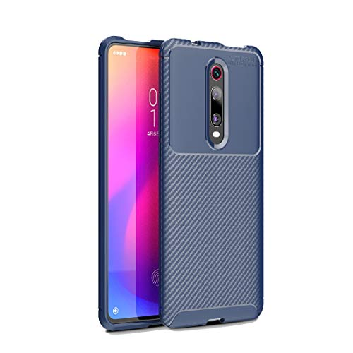 Liluyao Funda telefónica para Xiaomi Caja de TPU a Prueba de choques de la Textura de Fibra de Carbono de la Serie Beetle for Xiaomi Redmi K20 / K 20 Pro (Color : Blue)