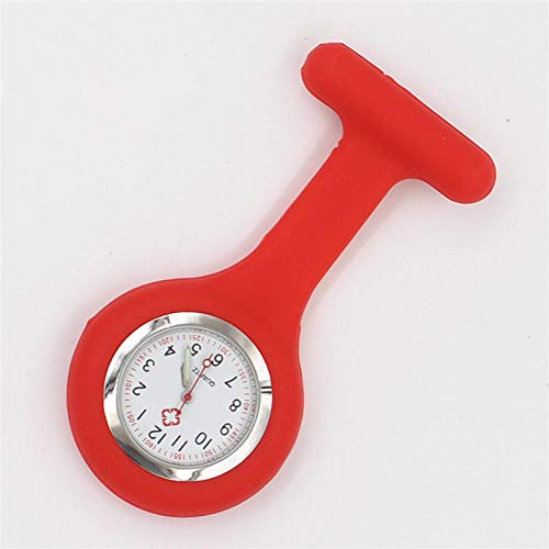 WTFYSYN Broche Movimiento Cuarzo Clip Reloj,Mesa médica de Enfermera de Silicona, Reloj de Bolsillo de Examen de Estudiante retráctil Luminoso-Rojo,médico Reloj de Bolsillo