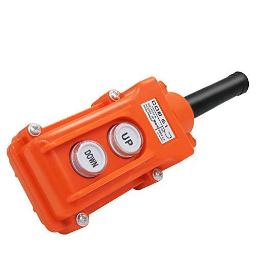 mxuteuk Rain Proof Up-Down Control Station, Crane Pendant Hoist Push Button Switch Momentary COB61-UP-DOWN