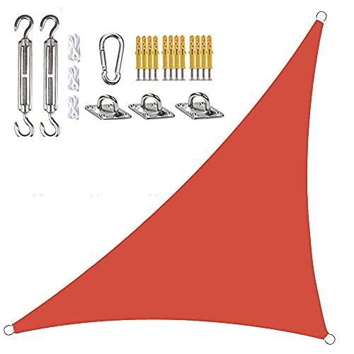 Toldo Vela De Sombra Triangular En ángulo Recto Impermeable Toldo con Protección UV, con Kit De Fijación Y Cuerda (4x4x5.7m,Rojo)