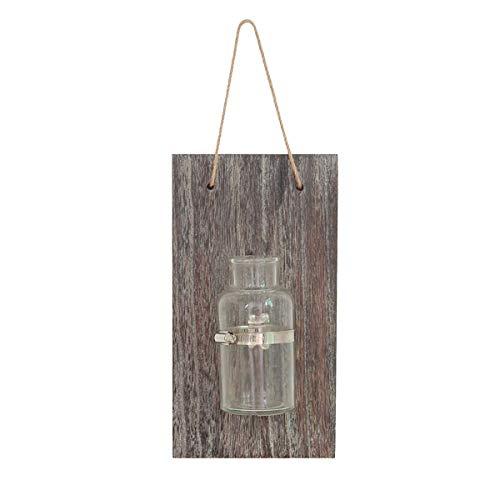 Wandbehang Blumentopf Kreative Vintage Alte Holzplatte Glas Hydroponik Vase Transparent Reagenzglas Blumenflasche Home Decor mit Hanfseil Für Home Outdoor Gartendekoration