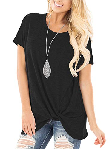 Womens Short Sleeve Knotted Tops Summer Casual Tunic Leggings Blouses Black L