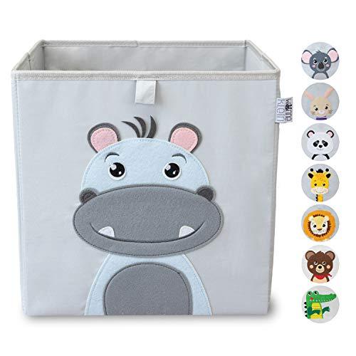wonneklein Aufbewahrungsbox Kinder I Spielzeugkiste Kinderzimmer I Spielzeug Box (33x33x33 cm) zur Aufbewahrung I Ordnungsbox I Kallax Box I grau mit Tier Motiv als Deko (Hansi Hippo)