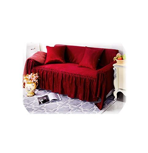 hotmoment-uk Funda de sofá de lino y terciopelo de doble cristal para sofá de 43,02,210 x 200 cm, antideslizante, color sólido
