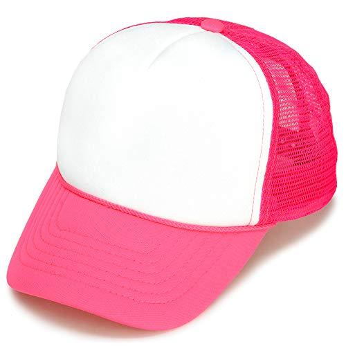 DALIX Trucker Cap Neon Pink Girls Hat for Youth Baseball Caps
