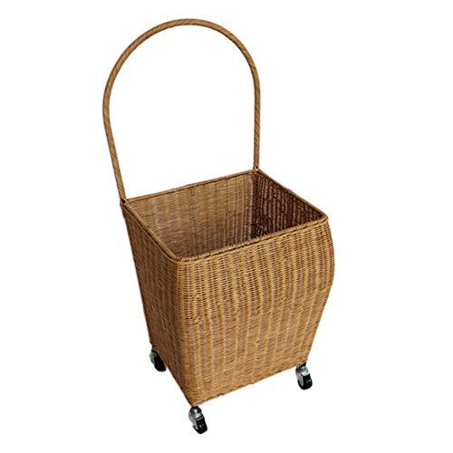 J. SCR Rattan Trolley Tragbaren Supermarkt Warenkorb, Kaufen Lebensmittel, Kleine Karren Klettertreppen, Mode-Kreativität, IKEA Umweltschutz