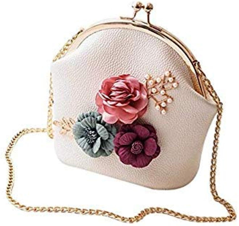 Women Fashion Handbag Shoulder Stereo Flowers Bag Small Tote Ladies Purse Luxury Handbags Women Bags Designer bolsas color White