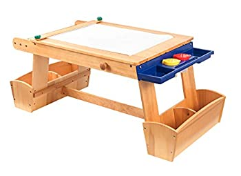 KidKraft Wooden Art Table with Drying Rack & Storage Bins Children s Furniture - Natural Gift for Ages 3-8