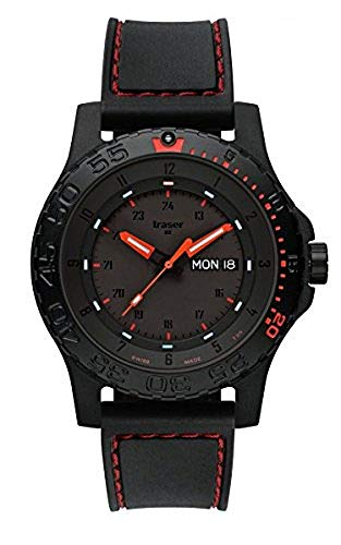 Traser H3 Watches Red Combat Rubber rote Naht 105503