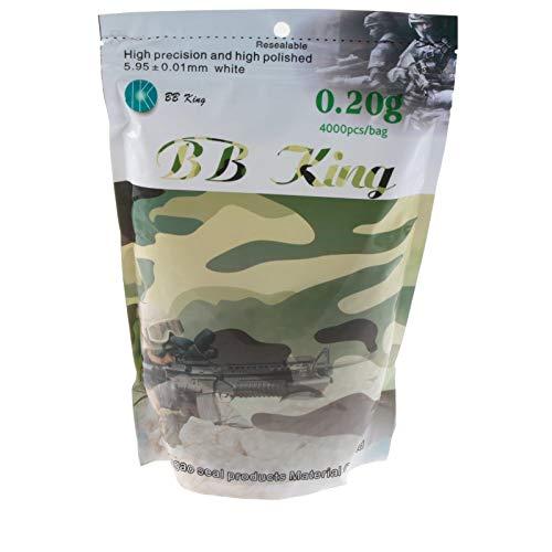 BB-King Softair Kugeln 4000 Stück 6 mm 0,20 g, Weiß, QAA006.0.B01