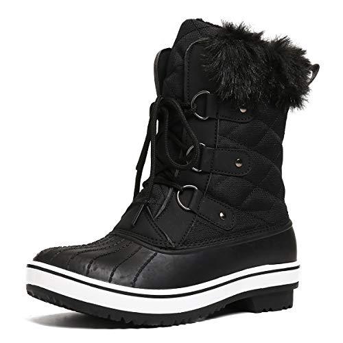 gracosy Schneestiefel Damen Wasserdicht Gefütterte Winterschuhe rutschfeste Warm Winterstiefel Schnee Stiefel Nylon Short Schnee Pelz Regen Stiefel Schwarz