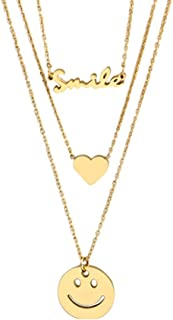 Gemcres Boho Layered Smiles Necklaces Gold Love Heart Choker Necklace Smile Face Pendant Necklace Chain Adjustable Jewelry...
