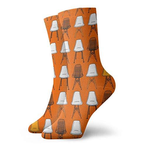 Eames Stoelen Oranje Zwart Modieuze Kleurrijke Funky Patroon Katoen Jurk Sokken 11,8 inch