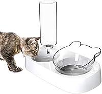 猫 キャットフード 皿 食器 ボウル 犬 餌 おしゃれ 優しい 水 ご飯 食べやすい (透明ボウル1皿+水のみ) 傾斜 水のみ えさ 猫の餌