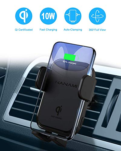 NANAMI Kabelloses Auto Ladegerät,7.5W/10W Fast Wireless Charger QI Ladestation Auto KFZ Handy Halterung Induktive Autohalterung für iPhone 11/11Pro/XS/XR/8Plus,Samsung Galaxy S20 S10 S9 S8,Note 10/8/9