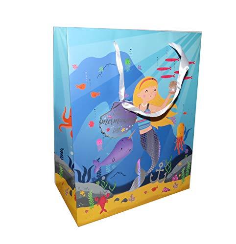 Set van 6 luxe grote zeemeermin folie papier geschenkzakken met geschenkzakken lint handgrepen geschenken verpakking verjaardag