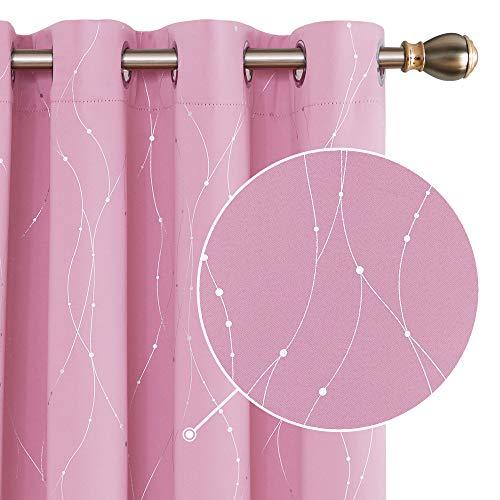Deconovo Cortinas Opacas con Aislamiento Térmico con 8 Ojales para Habitaciones de Niñas con Líneas Plateadas 117 x 183 cm 1 Par Rosa