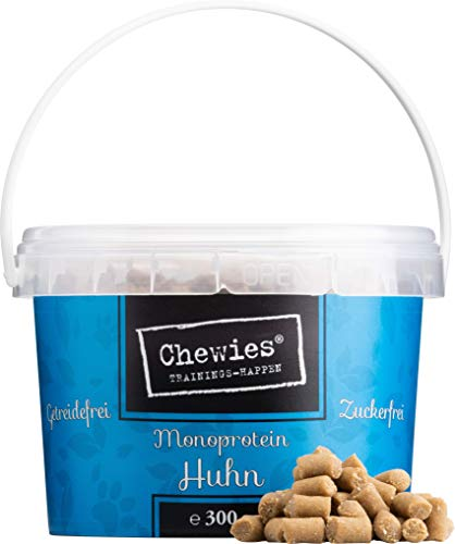 Chewies Trainingshappen Huhn - Monoprotein Snack für Hunde - 1 x 300 g XXL Pack - getreidefrei & zuckerfrei - Softe Leckerlies fürs Hundetraining - hypoallergen