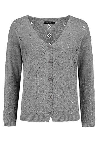Sublevel Damen Cardigan Strick-Jacke mit Lochmuster Dark-Grey M/L