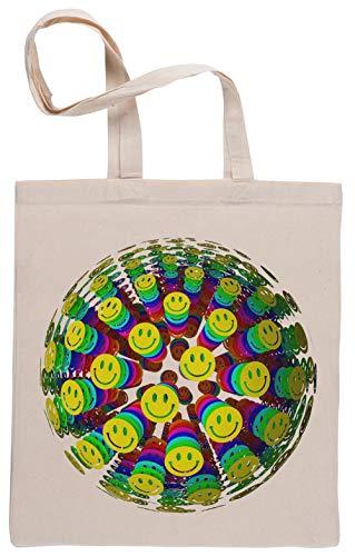 Capzy Sorridente Contento Faces Borse per La Spesa Riutilizzabili Shopping Bag Beige