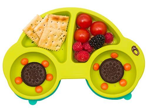 Qshare Baby Teller Schüssel, Silikon Saugnapf Tischset für Kleinkinder und Kinder, passend für Hochstuhl, BPA-frei Rutschfest Tragbare Baby-Platten, Abwaschbar für Spülmaschine, Mikrowelle