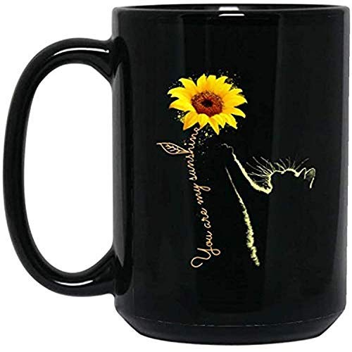 Cat Sunflower You are My Sunshine Mug Black Ceramic Coffee - Black Mug (11 Oz)
