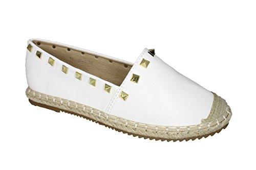 buyAzzo Damen Sommerschuhe | Freizeit Slippers | Bast Espadrilles Espandrillos Ballerinas | Flats Nieten Glitzer | BA6878 (36, Weiß)