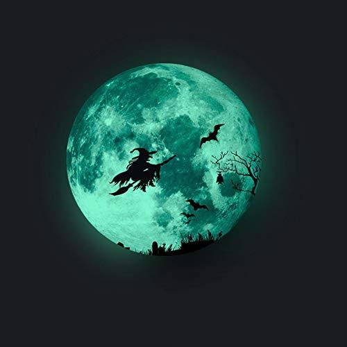 Etiqueta de la pared de la bruja de Halloween,30*30cm etiqueta engomada luminosa de la bruja de Halloween,3D Luna Grande Aplique Fluorescente engomada,Resplandor en la Etiqueta engomada Oscura(Verde)