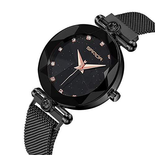ZSDGY Reloj Star Lady, Reloj Impermeable Trend De Moda, Malla con Reloj Lazy Iron, Reloj Pointer Prismático,A