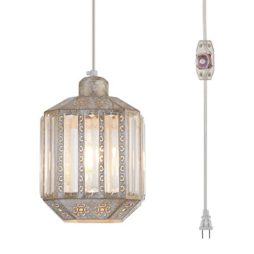 YLONG-ZS Hanging Lamps Crystal White Swag Lamp Rustic Pendant Light Plug in