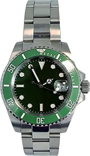 PARNIS by Collectors Club TW1006 Reloj de pulsera automático de acero inoxidable 316L, indicador de fecha, bisel de cerámica, cristal de zafiro, resistente al agua 5 bar