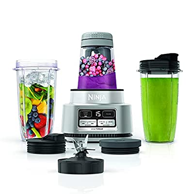Ninja SS101 Foodi Power Nutri Duo Smoothie Bowl Maker and Personal Blender 1200WP smartTORQUE 4 Auto-iQ Presets One base, multi-functions, Silver Stainless Finish