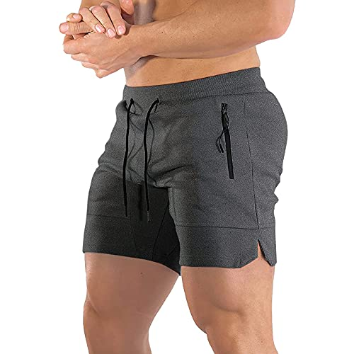 BUXKR Men s 5 Inch Workout Shorts Athletic Shorts Training with Zipper Pockets Dark Grey S