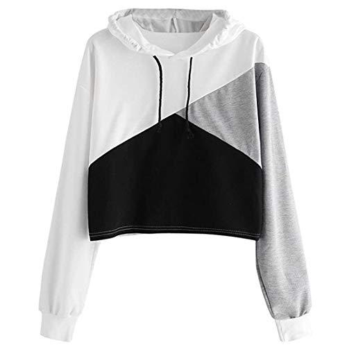 Frauen Mädchen Crop Hoodie Patchwork T-Shirt Pullover Tops Bluse Langarm Kurzes T-Shirt Kapuze Casual Herbst T-Shirt Sport lässiges Basic Klassisches Leichtgewicht Sweatshirts XL