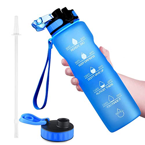 OUTXE 32oz Water Bottle with Motivational Time Marker & 2 Lids & Straw & Removable Fruit Strainer Tritan BPA-Free Non-Toxic Great for Fitness Gym Outdoor Sports