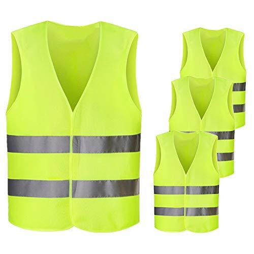 Netspower Warnwesten Auto, 4 Stück Waschbar Warnweste Sicherheitsweste Reflektorweste Pannenweste KFZ Pannenhilfe Warnschutzweste für Unfall Autofahrern Fahrrad Fahrern Arbeitskräften