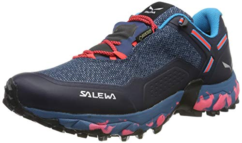 Salewa WS Speed Beat Gore-TEX, Zapatillas para carrera de senderos Mujer, Azul (Patriot Blue/Fluo Coral), 38 EU
