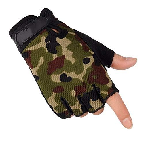 IMmps Leichte atmungsaktive Handschuhe, die rutschfeste, verschleißfeste Vollfinger-Halbfinger-Herrenhandschuhe-T393half-Camouflage-L Fahren